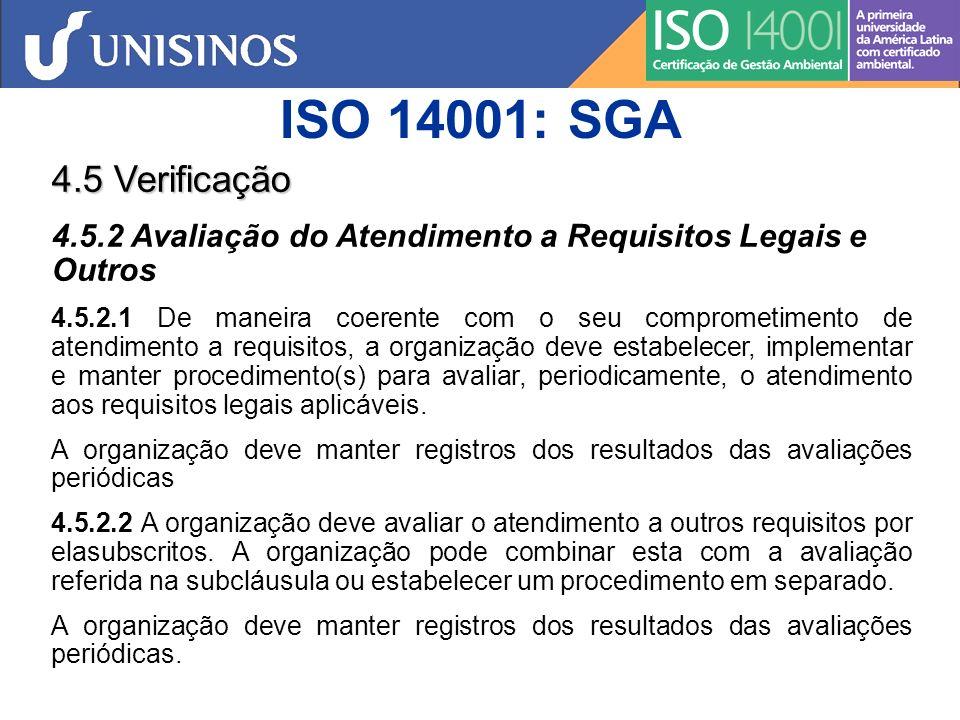 ISO 14001: SGA 4.5 Verificação. 4.5.2 Avaliação do Atendimento a Requisitos Legais e Outros.
