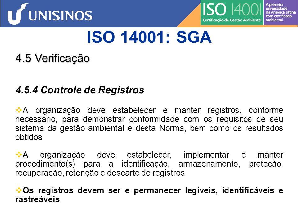 ISO 14001: SGA 4.5 Verificação 4.5.4 Controle de Registros