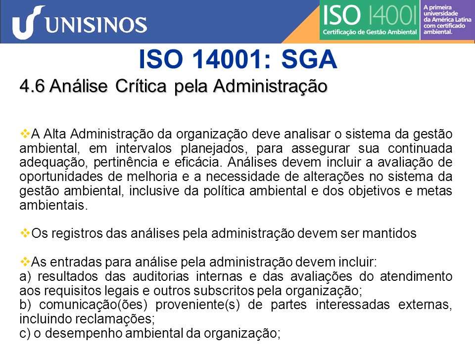 ISO 14001: SGA 4.6 Análise Crítica pela Administração