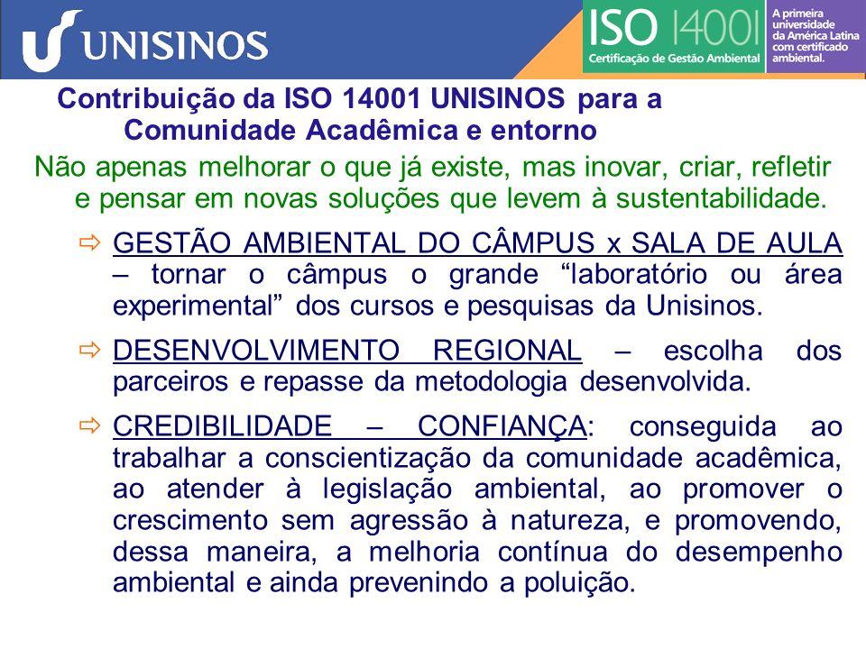 Contribuição da ISO 14001 UNISINOS para a Comunidade Acadêmica e entorno