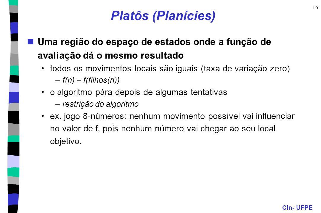 Platôs (Planícies) Uma região do espaço de estados onde a função de avaliação dá o mesmo resultado.