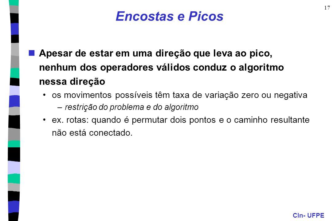 Encostas e Picos Apesar de estar em uma direção que leva ao pico, nenhum dos operadores válidos conduz o algoritmo nessa direção.