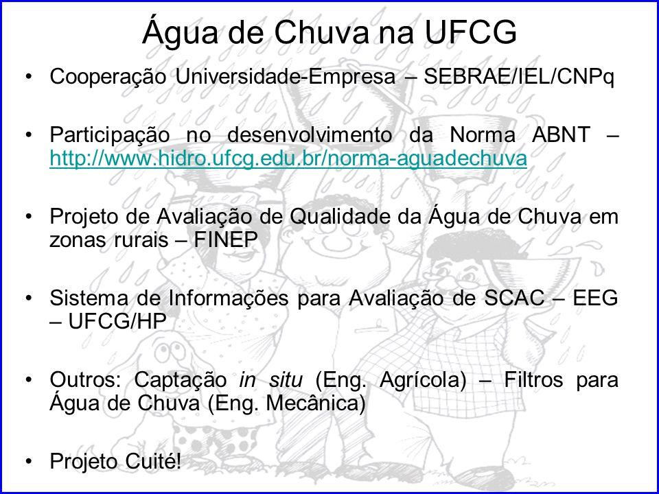 Água de Chuva na UFCG Cooperação Universidade-Empresa – SEBRAE/IEL/CNPq.