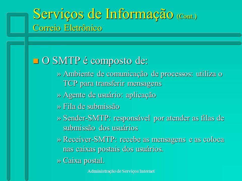 Serviços de Informação (Cont.) Correio Eletrônico
