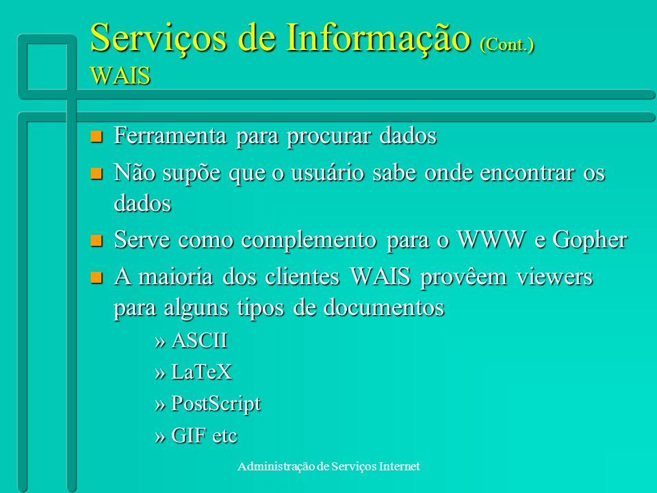 Serviços de Informação (Cont.) WAIS