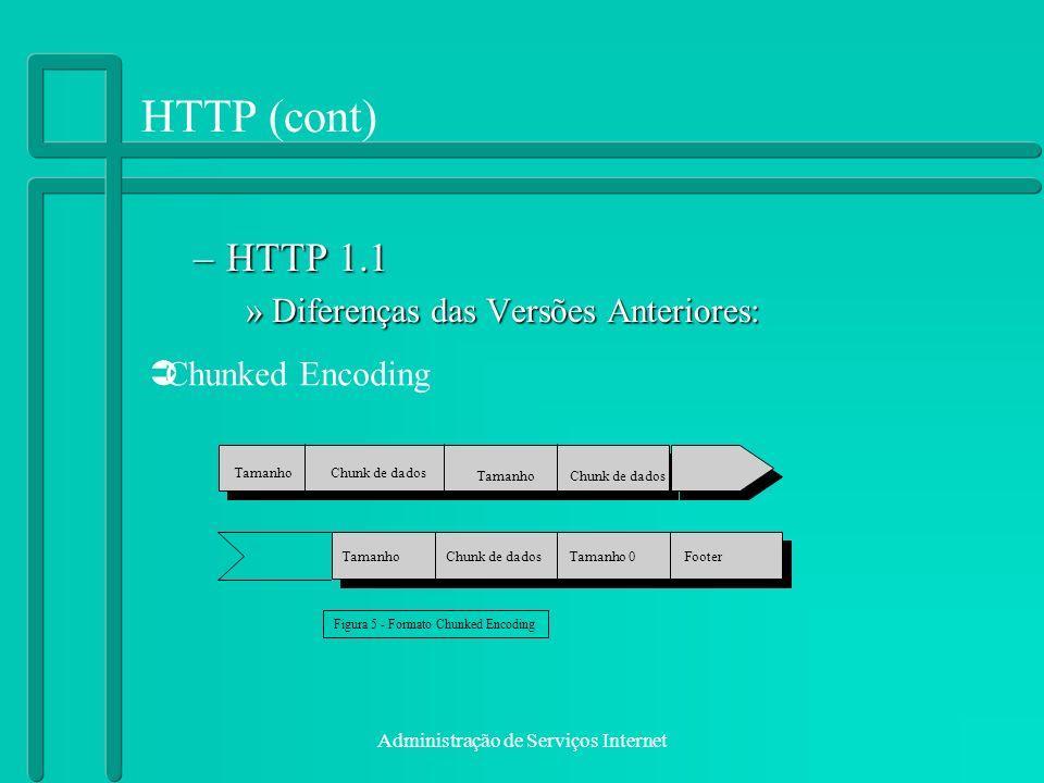 HTTP (cont) HTTP 1.1 Diferenças das Versões Anteriores:
