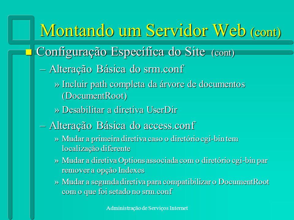 Montando um Servidor Web (cont)