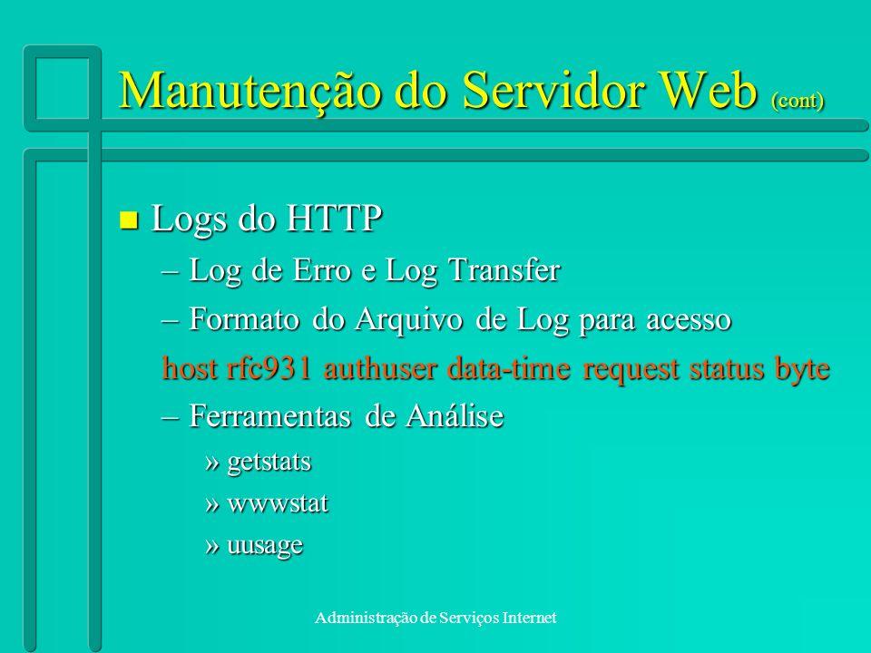 Manutenção do Servidor Web (cont)