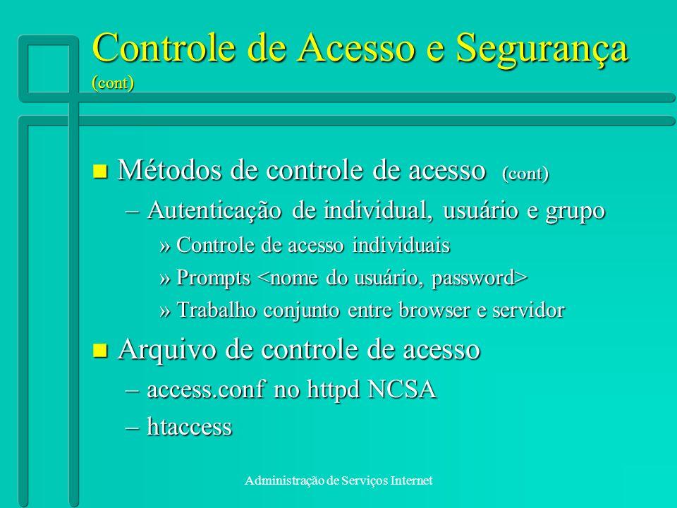 Controle de Acesso e Segurança (cont)