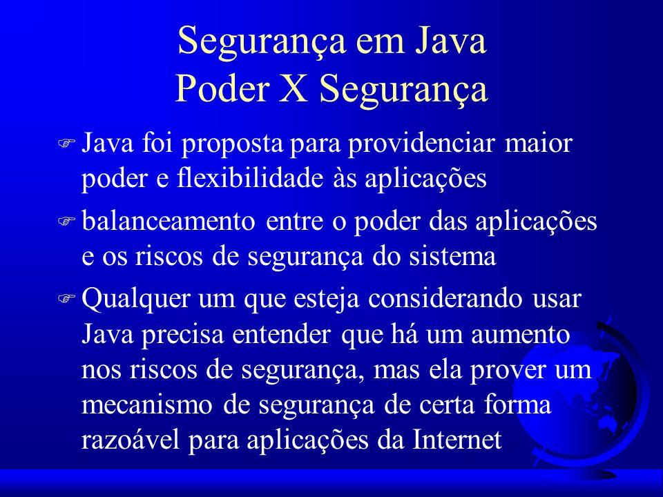 Segurança em Java Poder X Segurança