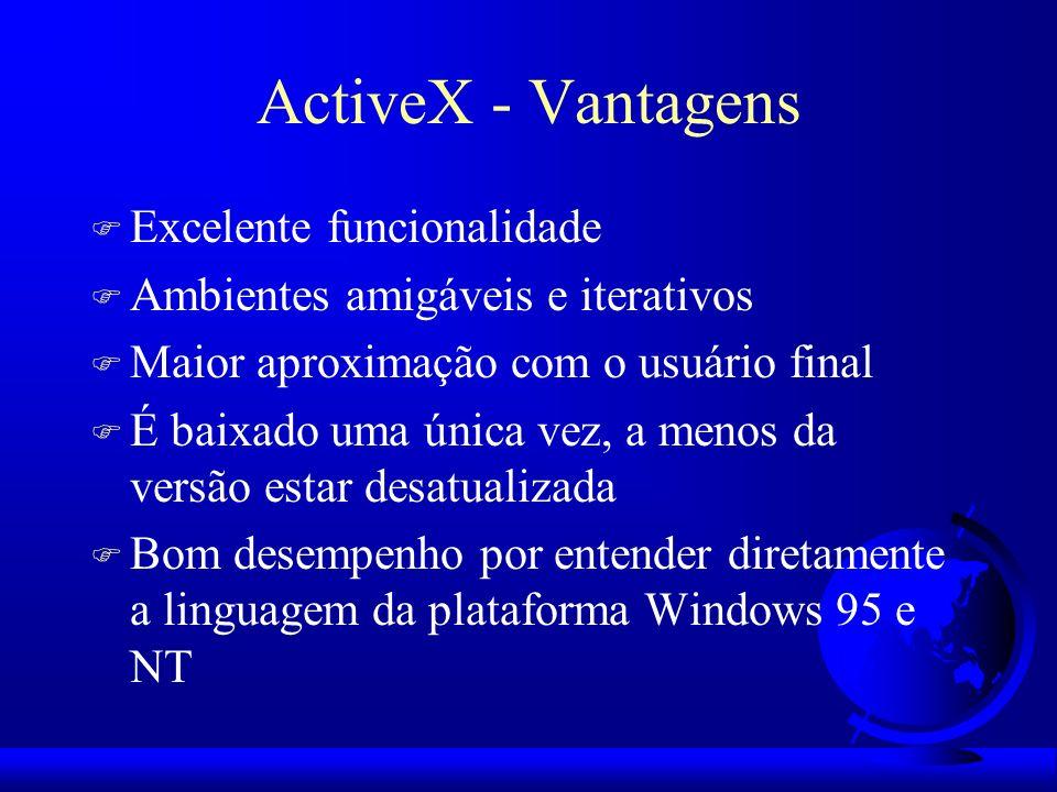 ActiveX - Vantagens Excelente funcionalidade
