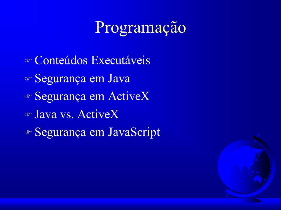 Programação Conteúdos Executáveis Segurança em Java