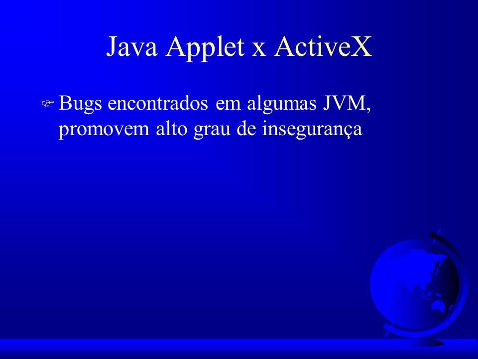 Java Applet x ActiveX Bugs encontrados em algumas JVM, promovem alto grau de insegurança