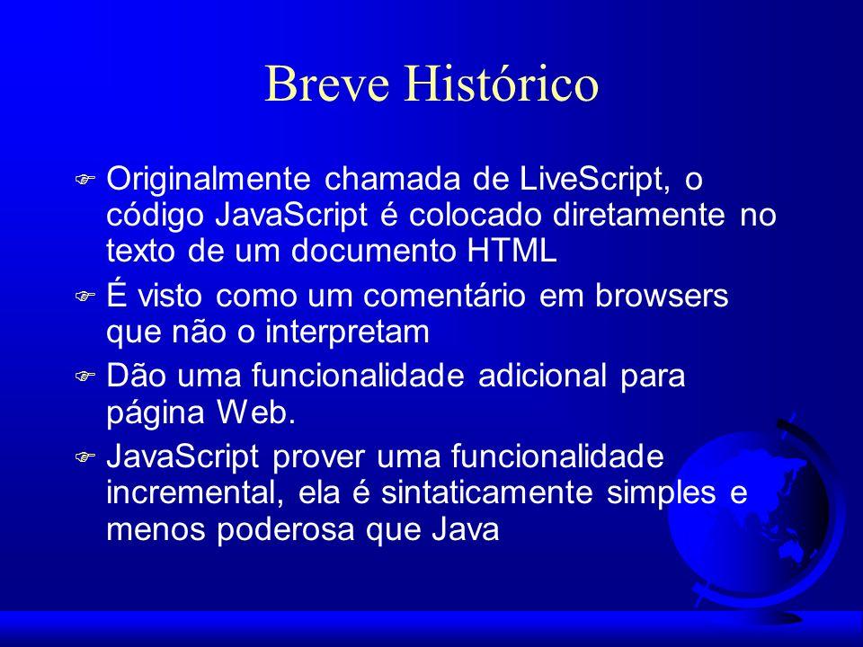 Breve Histórico Originalmente chamada de LiveScript, o código JavaScript é colocado diretamente no texto de um documento HTML.