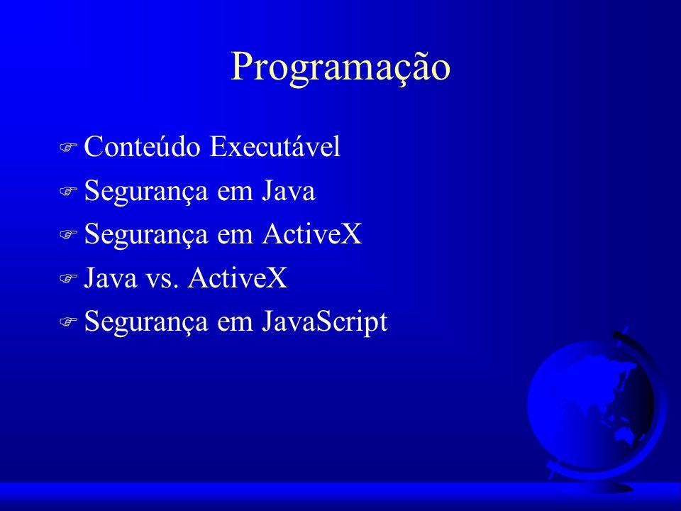 Programação Conteúdo Executável Segurança em Java Segurança em ActiveX