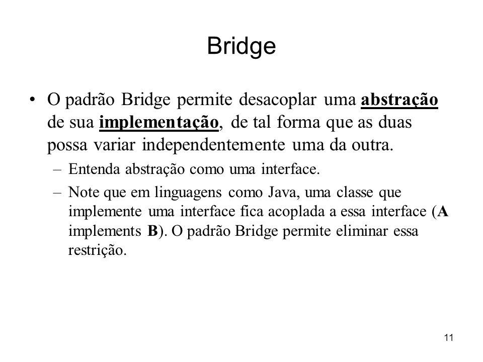 Bridge O padrão Bridge permite desacoplar uma abstração de sua implementação, de tal forma que as duas possa variar independentemente uma da outra.