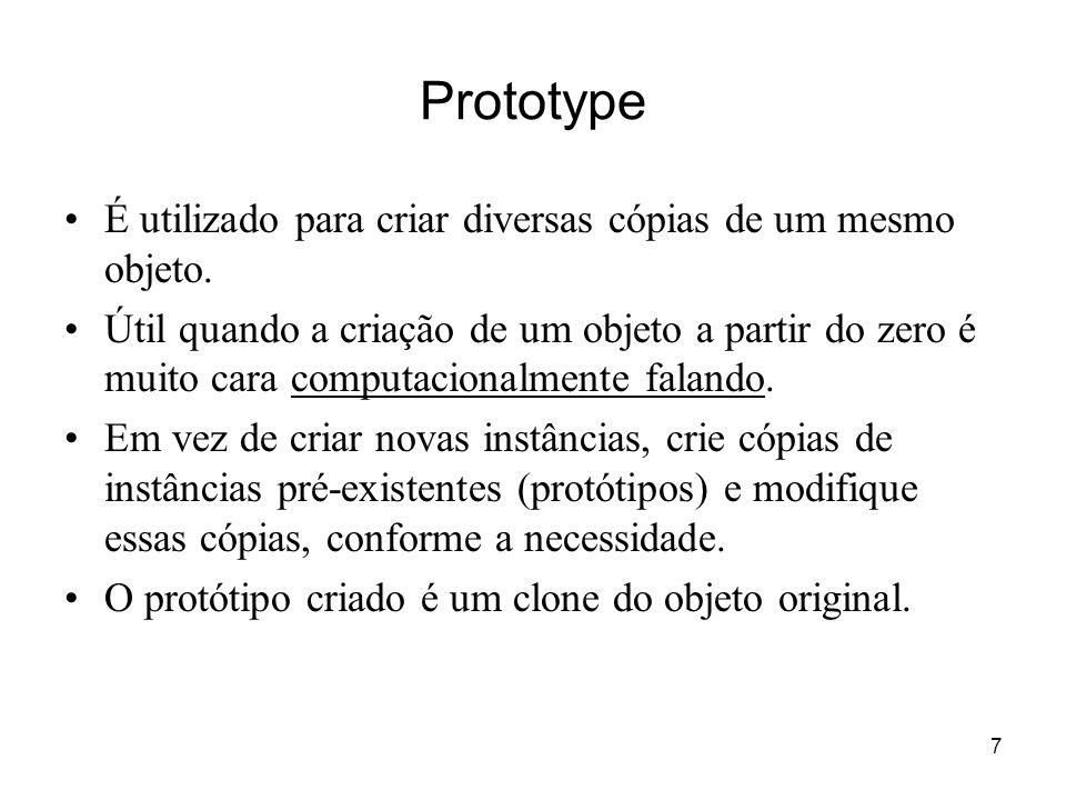 Prototype É utilizado para criar diversas cópias de um mesmo objeto.
