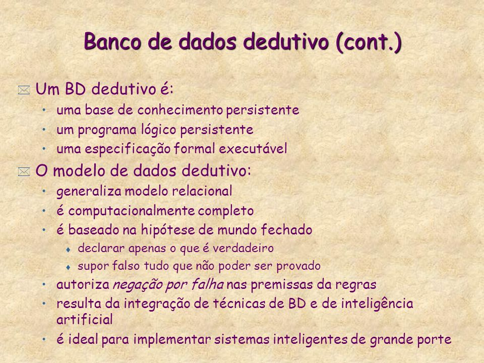 Banco de dados dedutivo (cont.)