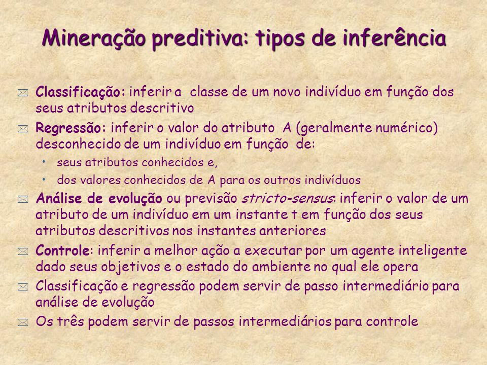 Mineração preditiva: tipos de inferência