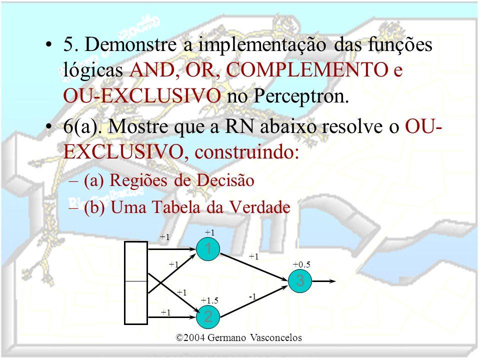 6(a). Mostre que a RN abaixo resolve o OU-EXCLUSIVO, construindo: