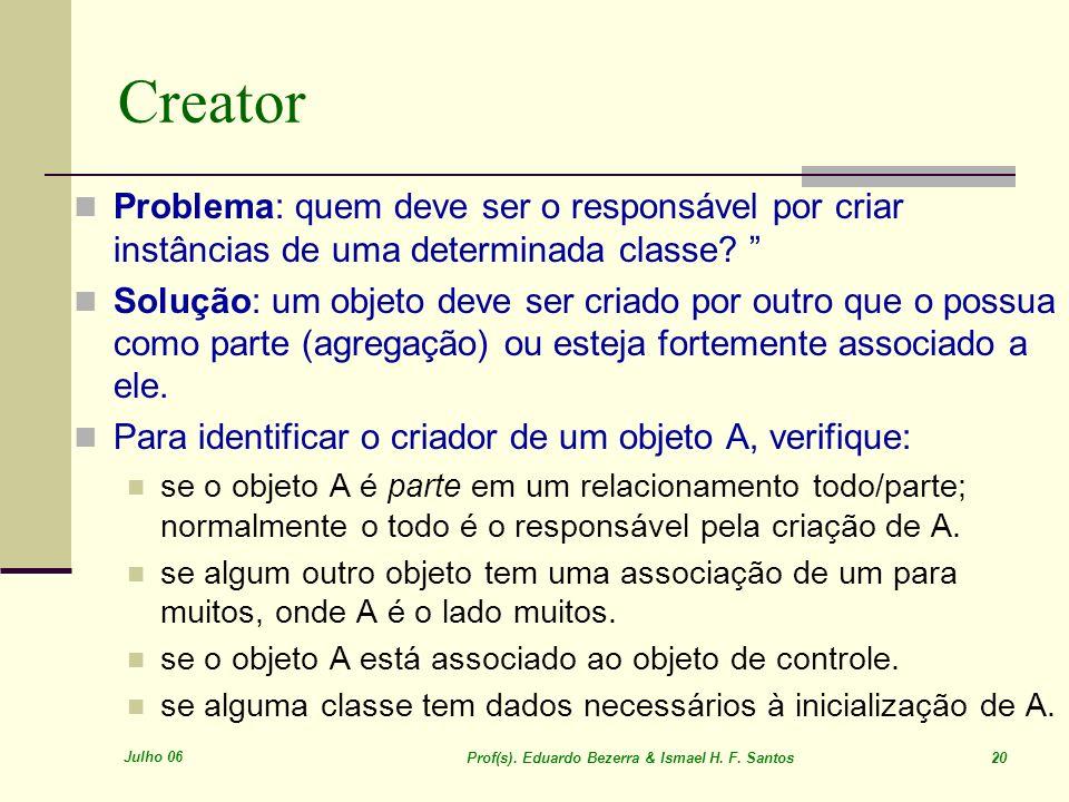 Creator Problema: quem deve ser o responsável por criar instâncias de uma determinada classe