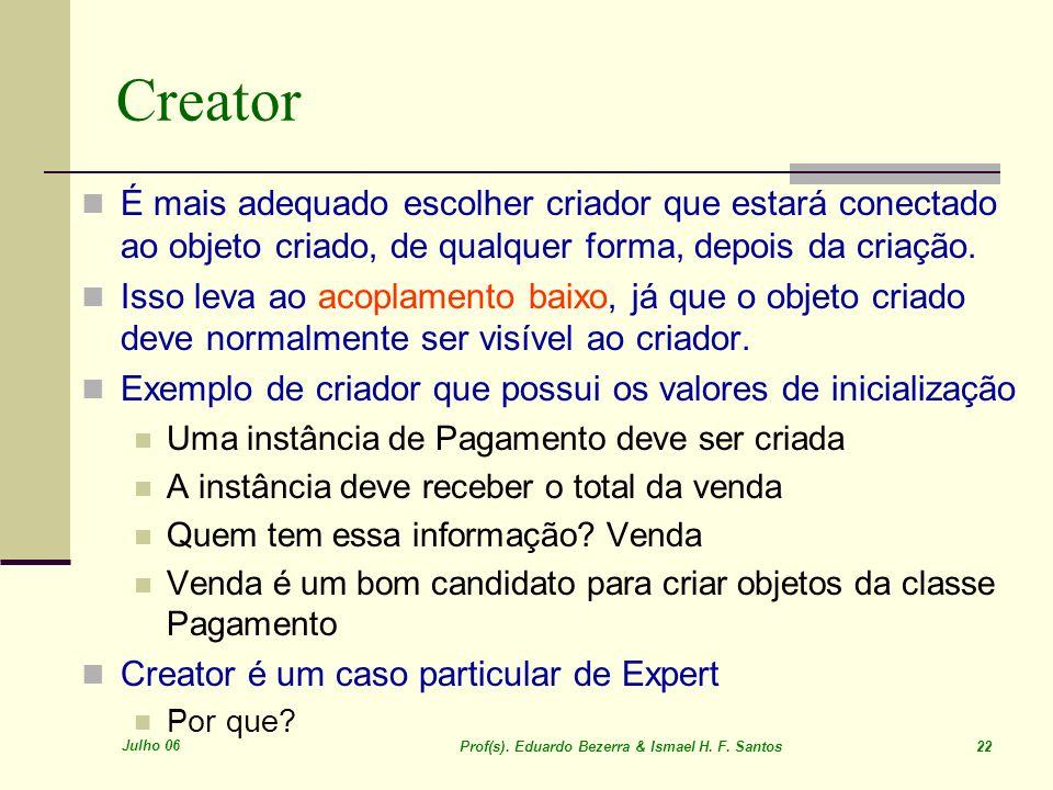 Creator É mais adequado escolher criador que estará conectado ao objeto criado, de qualquer forma, depois da criação.