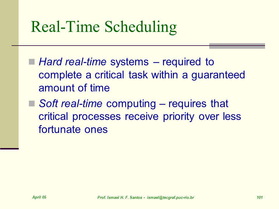 Real-Time Scheduling Hard real-time systems – required to complete a critical task within a guaranteed amount of time.