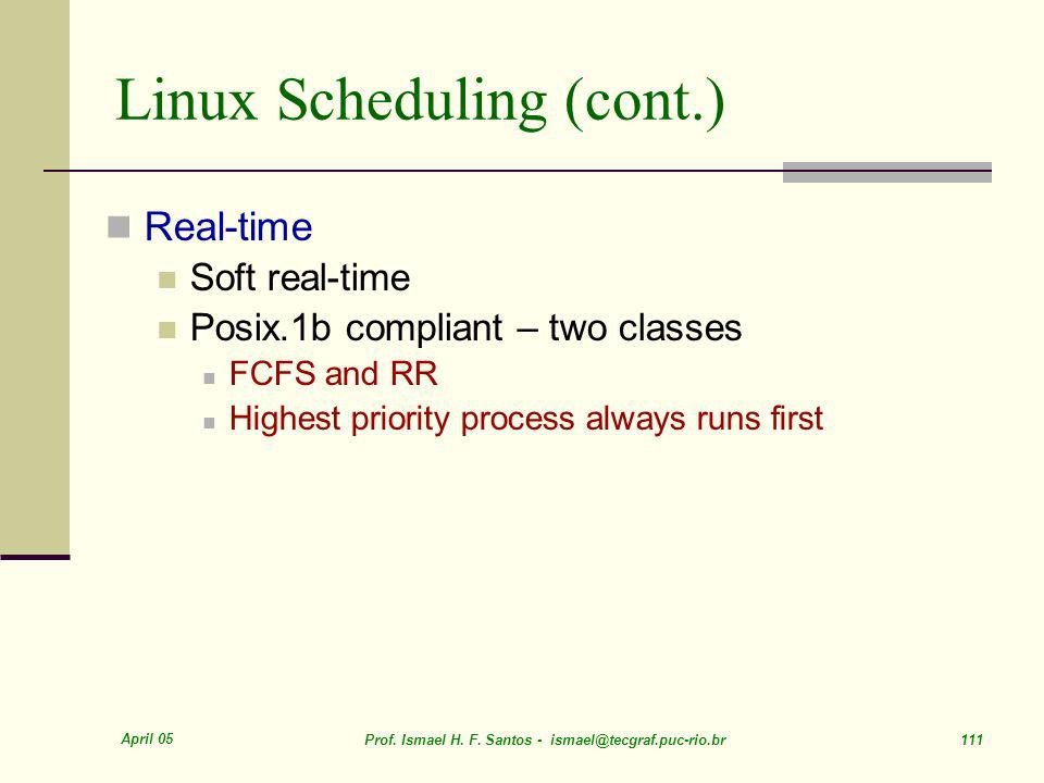 Linux Scheduling (cont.)