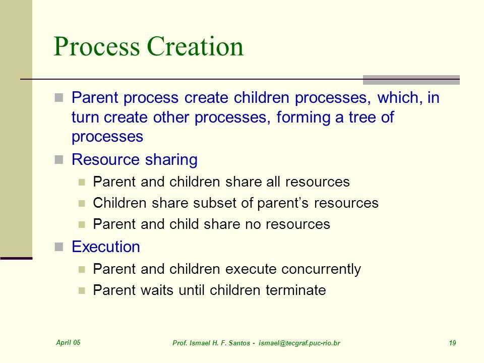 Process Creation Parent process create children processes, which, in turn create other processes, forming a tree of processes.