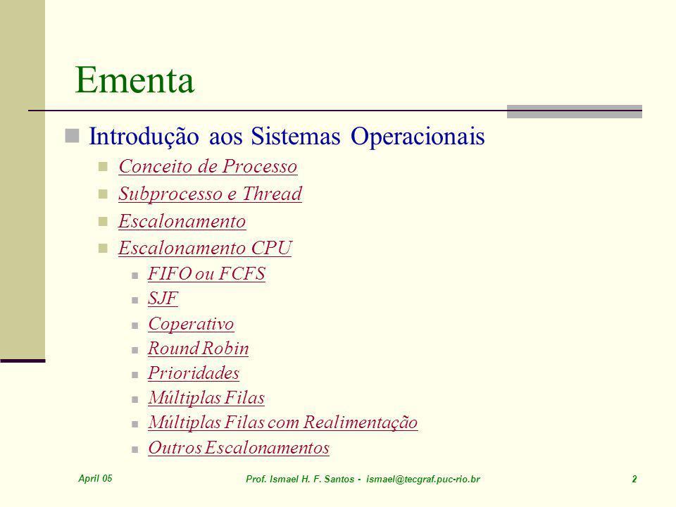 Ementa Introdução aos Sistemas Operacionais Conceito de Processo