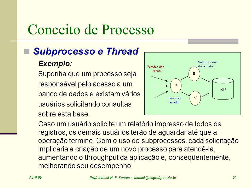 Conceito de Processo Subprocesso e Thread Exemplo:
