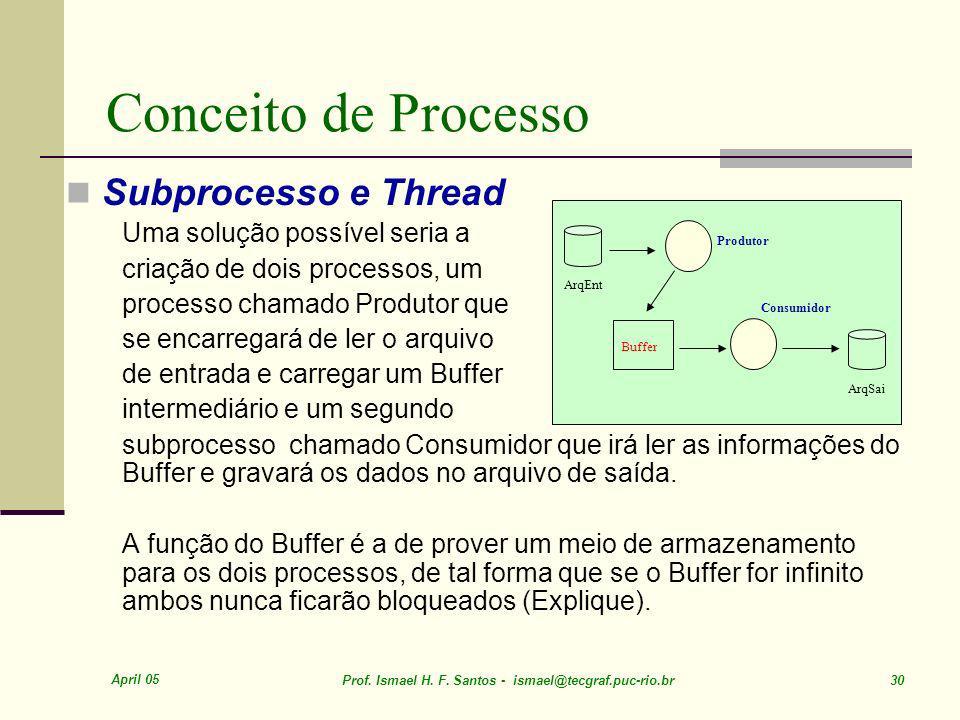 Conceito de Processo Subprocesso e Thread Uma solução possível seria a