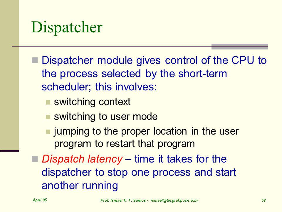 Dispatcher Dispatcher module gives control of the CPU to the process selected by the short-term scheduler; this involves: