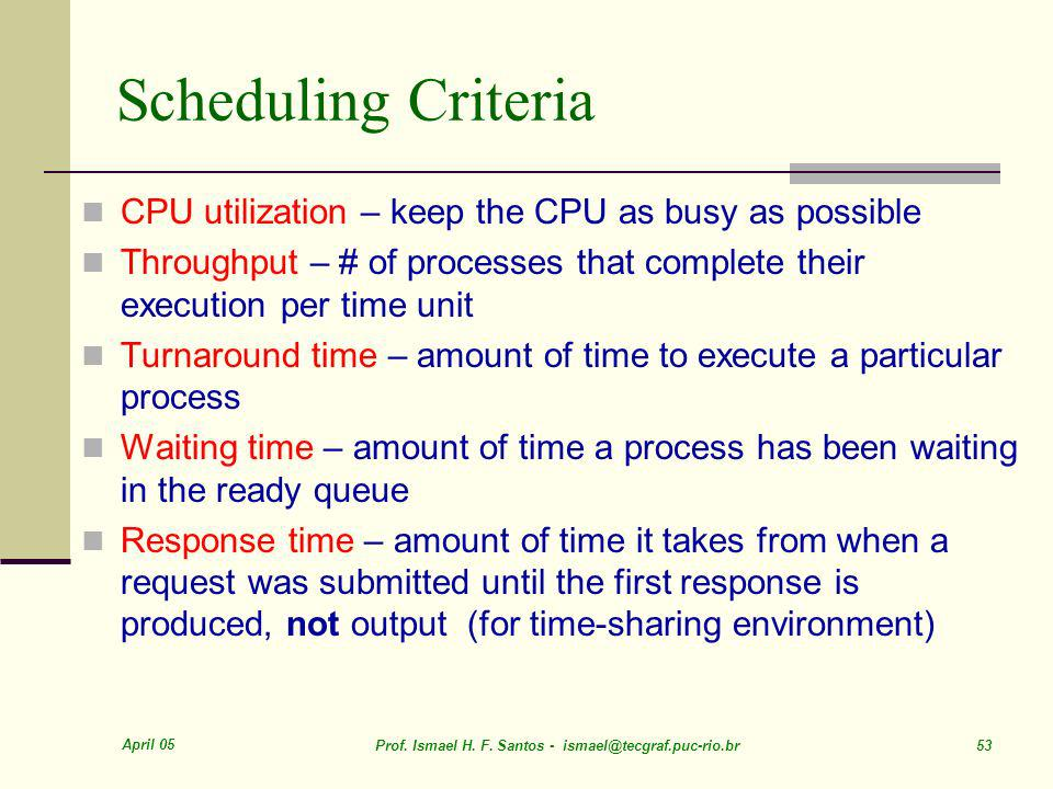 Scheduling Criteria CPU utilization – keep the CPU as busy as possible