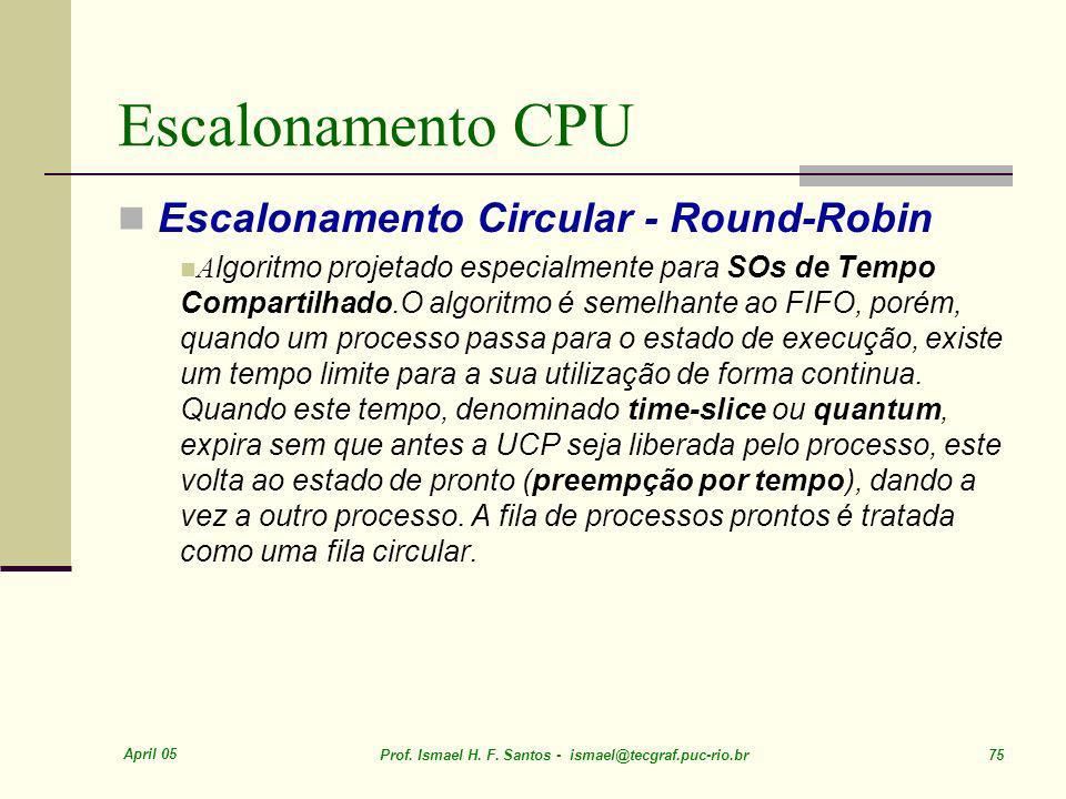 Escalonamento CPU Escalonamento Circular - Round-Robin