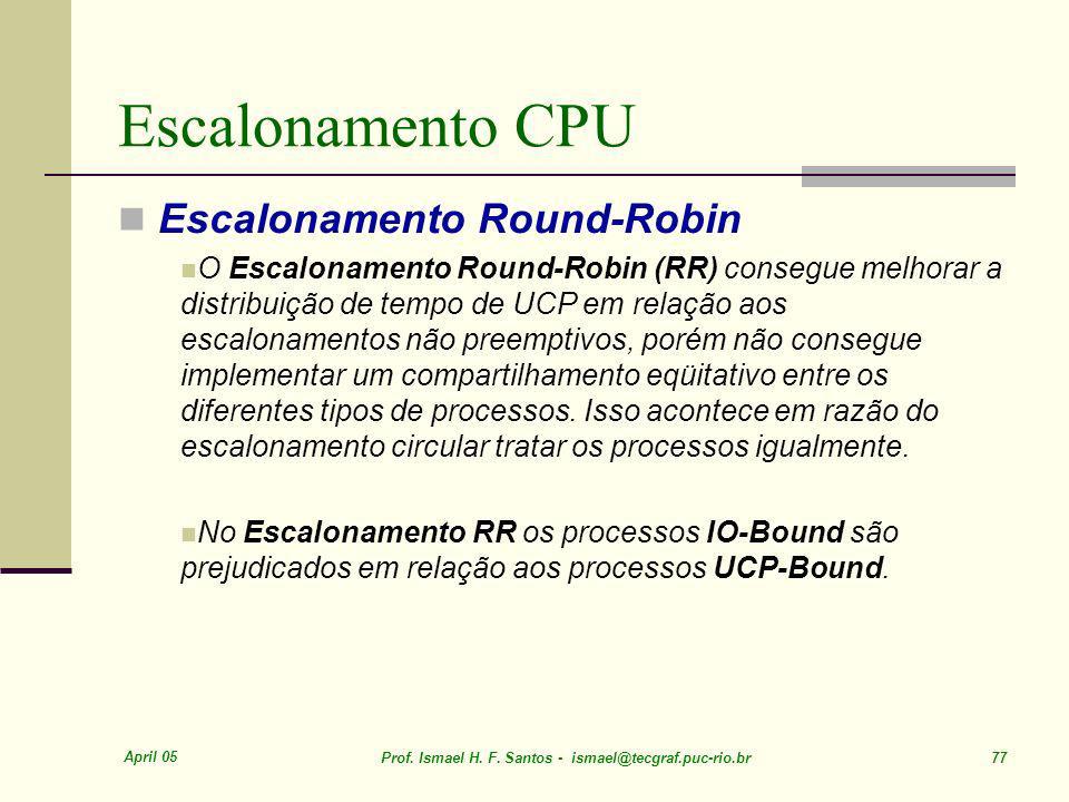 Escalonamento CPU Escalonamento Round-Robin