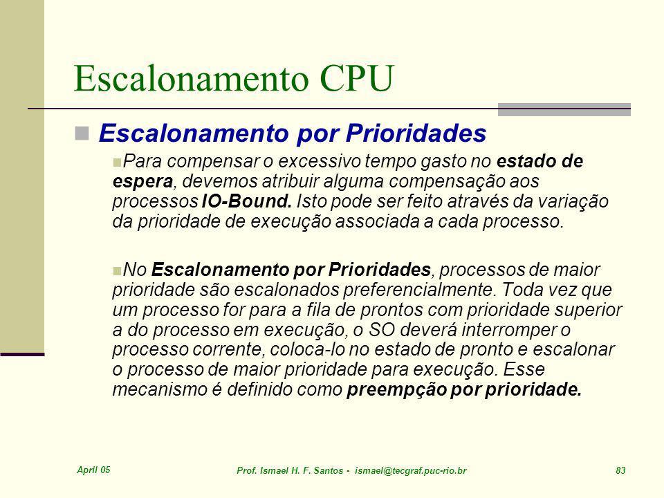 Escalonamento CPU Escalonamento por Prioridades