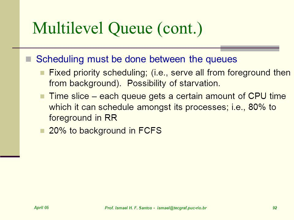Multilevel Queue (cont.)