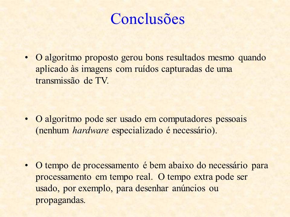 Conclusões O algoritmo proposto gerou bons resultados mesmo quando aplicado às imagens com ruídos capturadas de uma transmissão de TV.