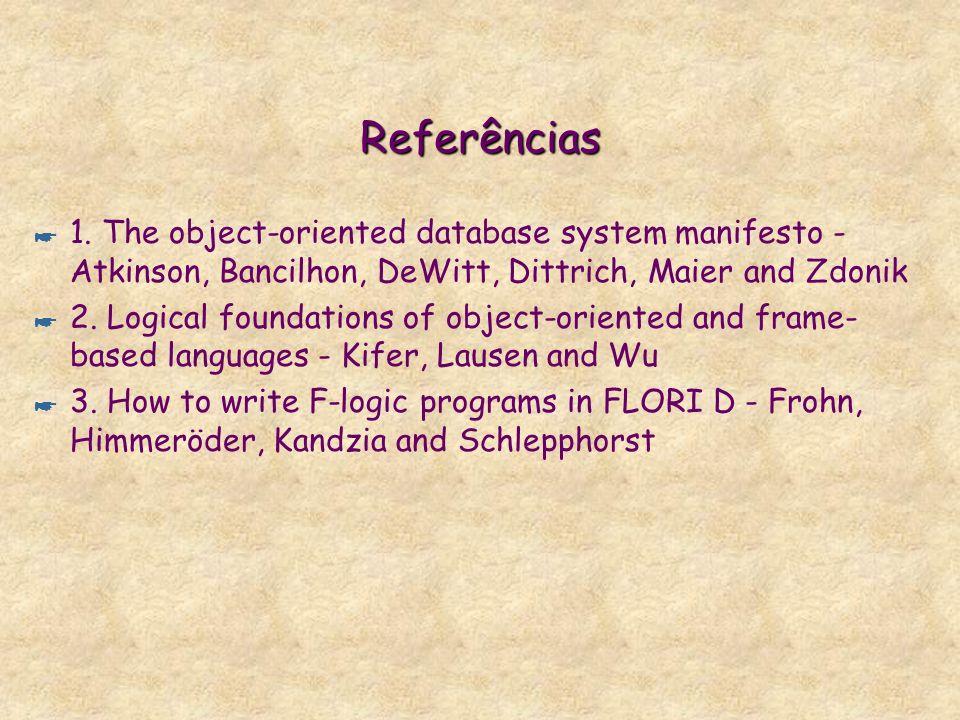 Referências 1. The object-oriented database system manifesto - Atkinson, Bancilhon, DeWitt, Dittrich, Maier and Zdonik.