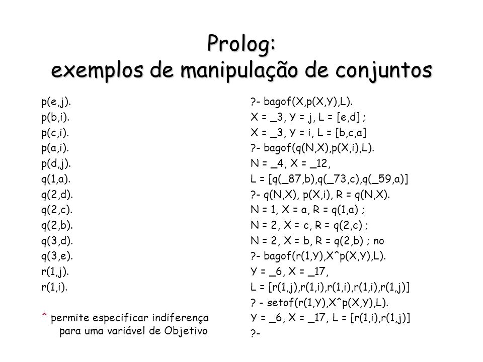 Prolog: exemplos de manipulação de conjuntos