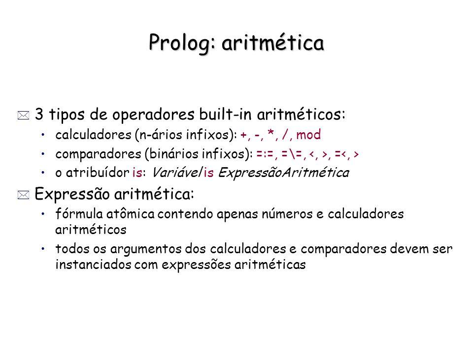 Prolog: aritmética 3 tipos de operadores built-in aritméticos:
