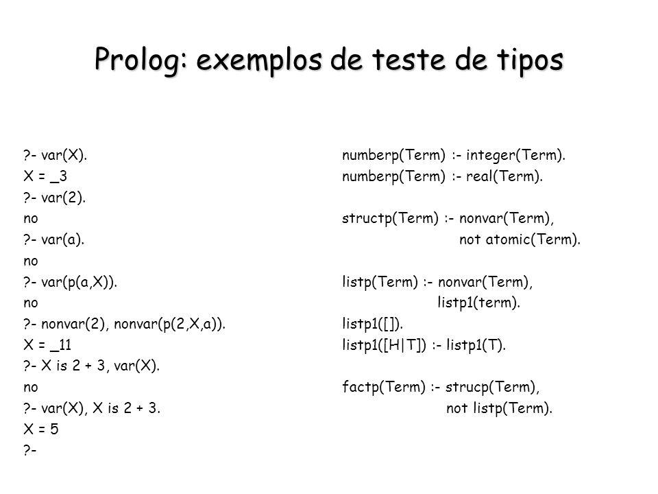 Prolog: exemplos de teste de tipos