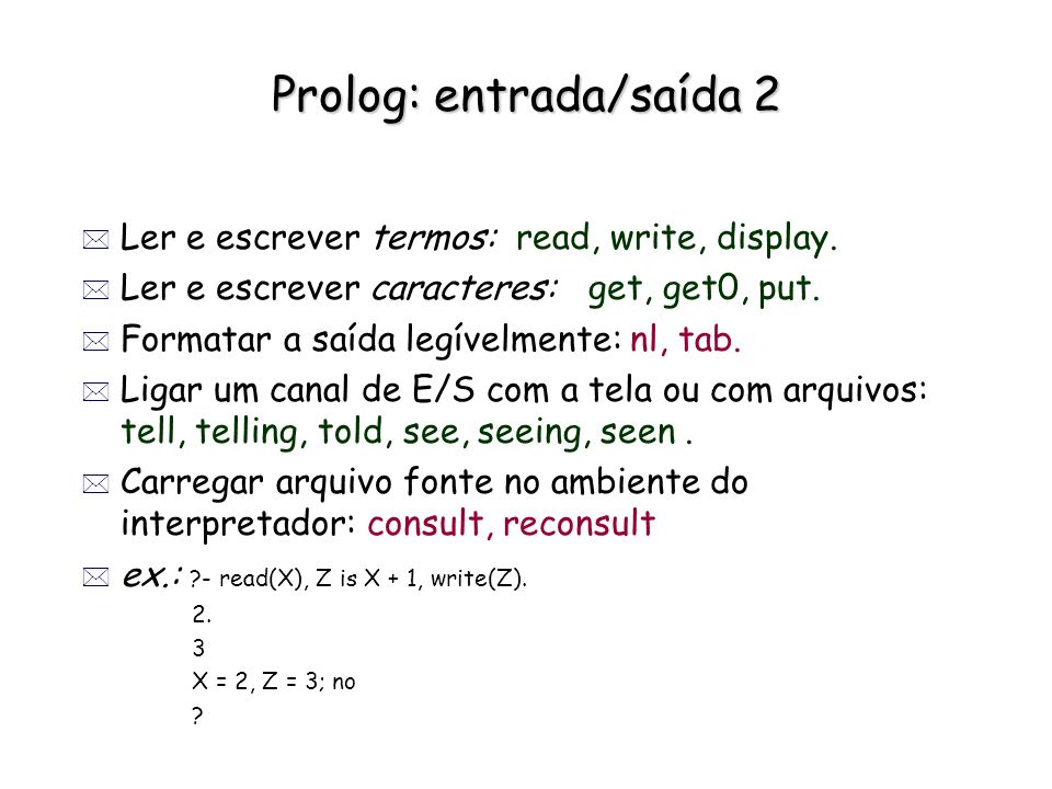 Prolog: entrada/saída 2