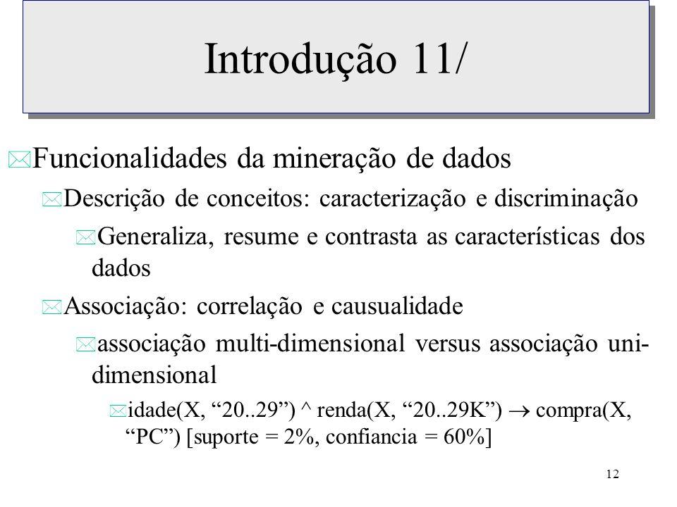 Introdução 11/ Funcionalidades da mineração de dados