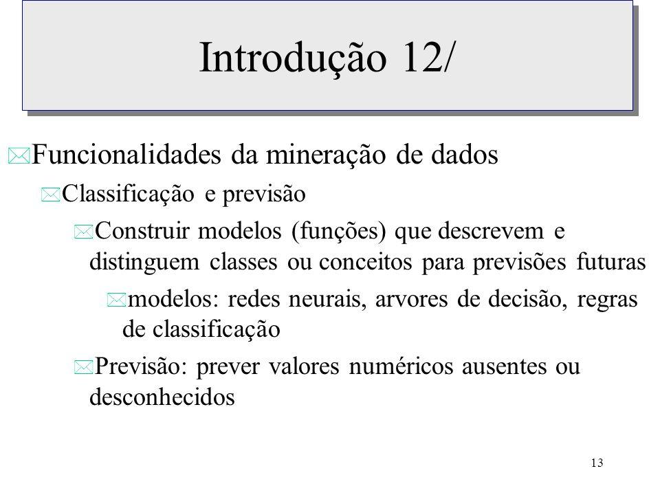 Introdução 12/ Funcionalidades da mineração de dados
