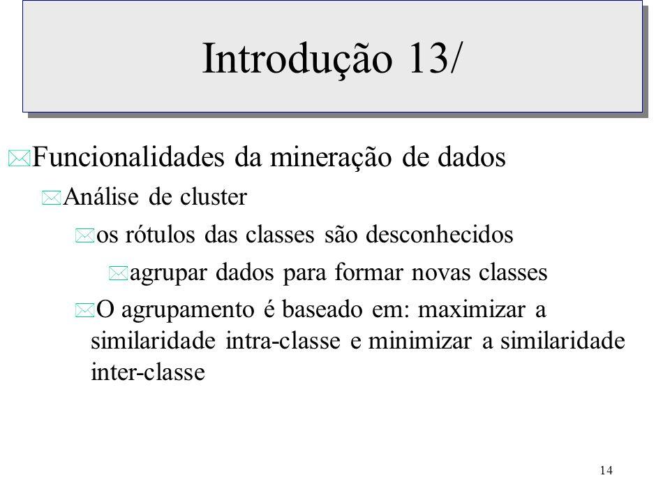 Introdução 13/ Funcionalidades da mineração de dados