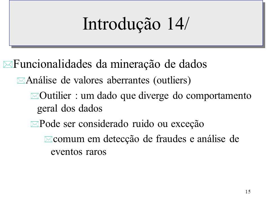 Introdução 14/ Funcionalidades da mineração de dados