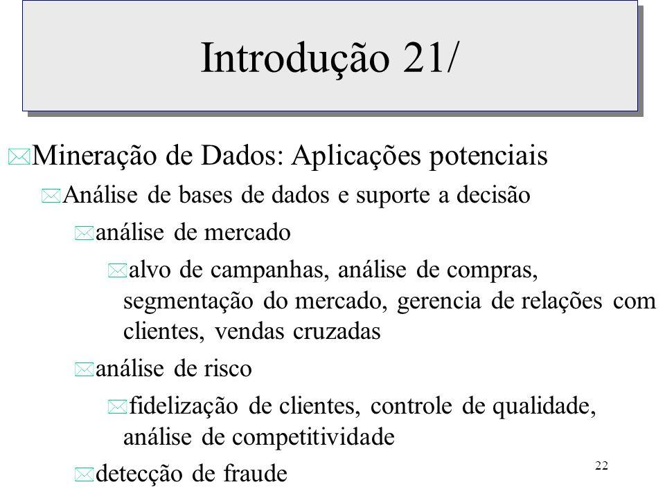 Introdução 21/ Mineração de Dados: Aplicações potenciais