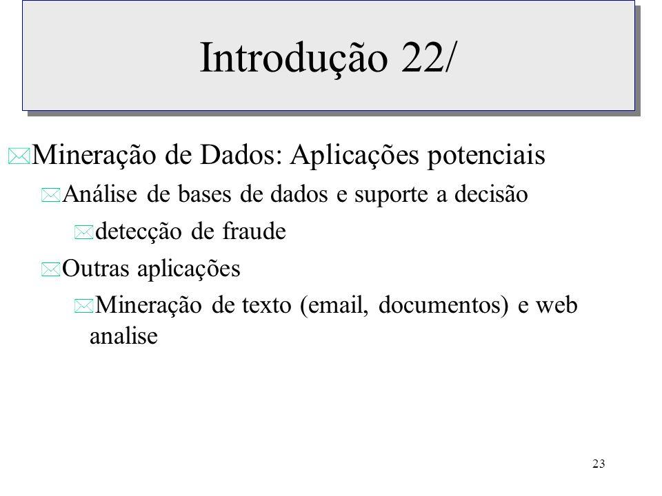 Introdução 22/ Mineração de Dados: Aplicações potenciais